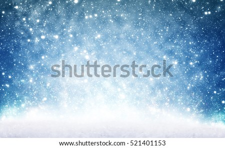 Christmas background, snow and sky