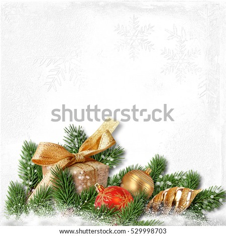 Christmas background with decorations on white textured paper