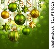 Christmas background with green and golden baubles. Check my portfolio for vector version. - stock photo