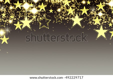 Christmas background with luminous garland with stars, snowflakes and place for text. Blue sparkly holiday background with copy space. Silver and gold background
