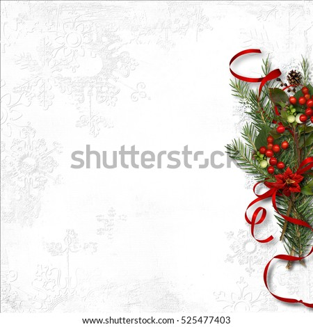 Christmas background with mistletoe and holly on white paper