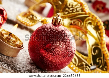 Christmas background with snow on wooden background