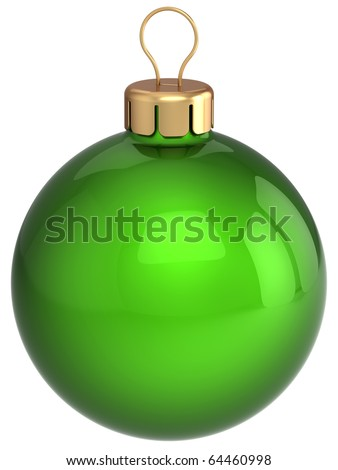 Christmas ball green New Year's Eve bauble hanging decoration sphere classic blank glossy clean. Merry Xmas greeting card design element. Traditional wintertime holidays symbol. 3d illustration