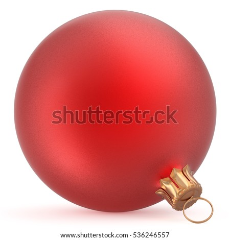 Christmas ball wintertime ornament red New Year's Eve hanging shiny sphere decoration adornment bauble souvenir. Traditional happy winter holidays Merry Xmas symbol closeup. 3d illustration isolated