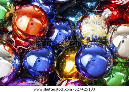 Christmas balls. Extra shiny vintage real glass christmas ball ornaments. Illustrate your project with brilliant colorful christmas ball texture.