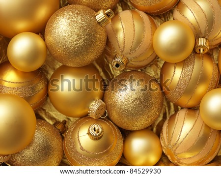 Christmas balls gold background.
