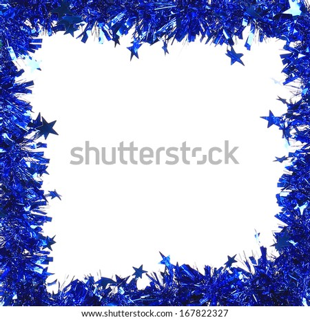 Christmas blue tinsel with stars as frame. Whole background.
