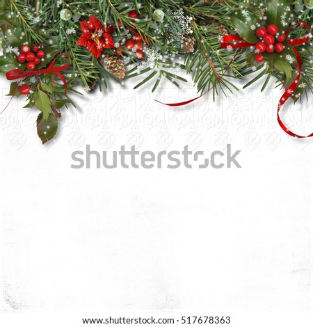 Christmas border with firtree, holly and poinsettia on white bac