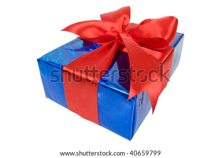 christmas box in blue film wrap with red ribbon isolated on white