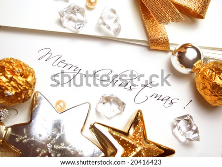 Christmas card and paper with decorations and copy space