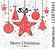 Christmas Card. Christmas background with baubles.  Illustration - stock photo