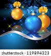 Christmas card with blue and yellow balls. Raster version of vector. - stock photo