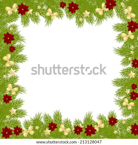 Christmas card with decorations - bows, stars and poinsettia.