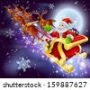 Christmas cartoon illustration of Santa Claus flying in his sled or sleigh through the night sky with moon in the background   - stock