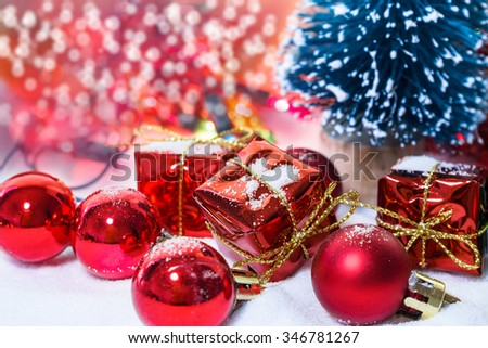 Christmas Celebration background with Christmas tree with decorations
