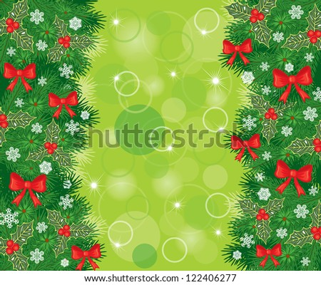 Christmas congratulatory background with fir garlands, holly and red bows