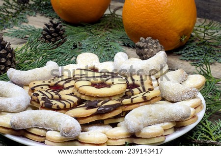 Christmas cookies of oranges on a wooden table
