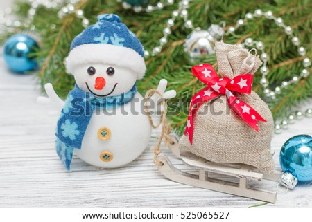 Christmas decoration balls and snowman