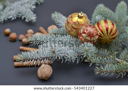 Christmas decoration on abstract background,vintage filter,soft focus. Christmas balls and snowflake on abstract background.