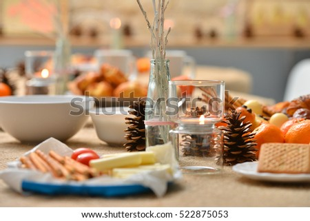 Christmas Decoration On Snack Table Stock Foto 522875059 ...