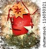 Christmas decoration over grunge paper background/old paper bordering with christmas decoration - stock photo