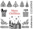 Christmas decoration set - lots of calligraphic elements, bits and pieces to embellish your holiday layouts. Collection of Christmas design elements isolated on White background.  illustration - stock photo
