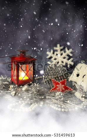 Christmas decorations and snow. Winter holidays wallpaper for phone