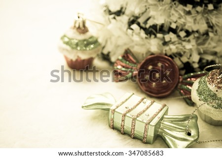 christmas decorations in vintage color style for background