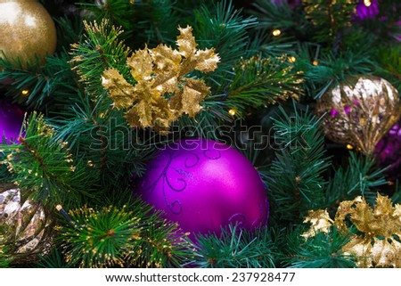 Christmas decorations on the branches of tree,  Christmas background