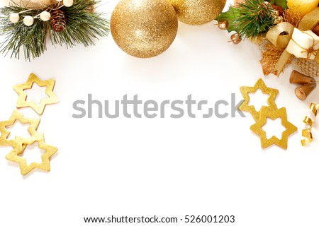 Christmas decorations on the white background.