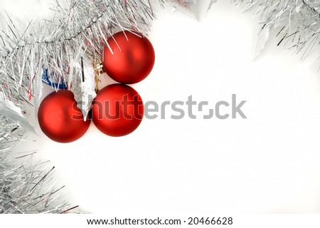 Christmas decorations white background with copy space.