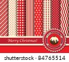 Christmas digital scrapbooking paper swatches in retro tones with ribbon and pudding. Also available in vector format. - stock photo