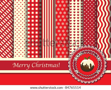 Christmas digital scrapbooking paper swatches in retro tones with ribbon and pudding. Also available in vector format.