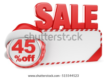 Christmas discounts on a white background. 3d render illustration. Forty five percent.