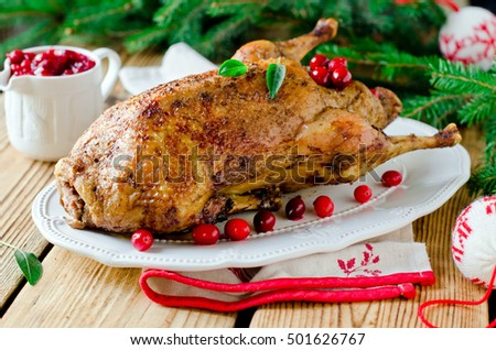 Christmas duck with cranberries