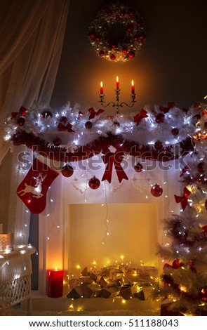 christmas fireplace in night lights interior xmas home room decorated by sock wreath - Room Christmas Lights