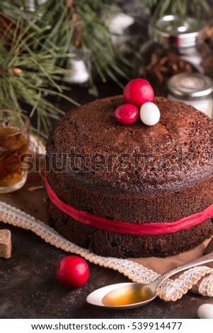 Christmas Fruit Cake Old English Dark Fruit Cake Classic English Cake Baked In Oven