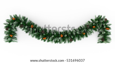 Christmas Garland Decoration, isolated on white background. 3D Rendering, Illustration.
