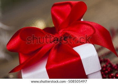 Christmas gift box, red ribbon