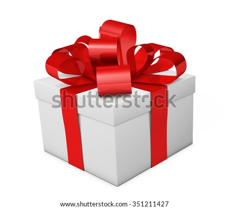 Christmas gift box with red ribbon and bow 3d illustration isolated on white background.