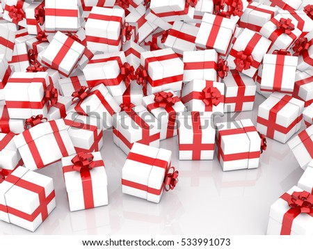 Christmas gift boxes on white background, 3D rendering