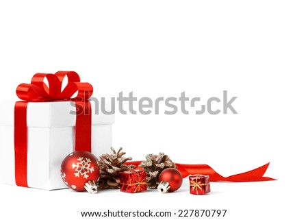 Christmas gift red balls bow isolated stock photo 227870803 christmas gift with red balls bow isolated on white background negle Gallery