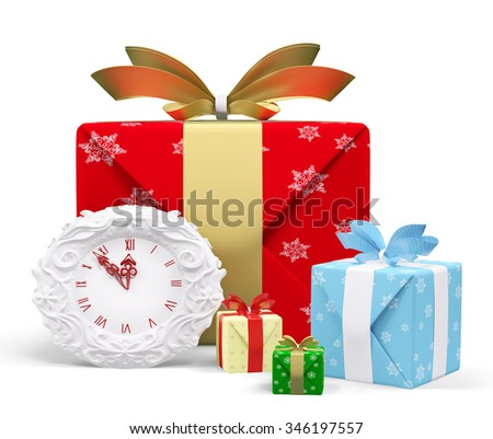 Christmas gifts and clock shows midnight, isolated 3d rendering