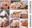 Christmas gingerbread cookies and stollen cake collage - stock photo