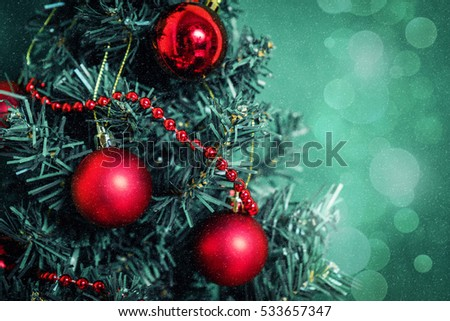 Christmas greeting card vintage.New Year ,Christmas Mock up.Close-up Decorated Christmas tree decorations background.Isolated on white.Postcard for holidays.Christmas fir tree background.Green Bokeh