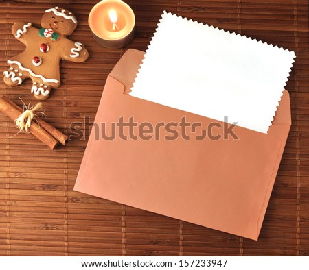 Christmas Greeting card with cookies, candle tea, cinnamon