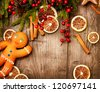 Christmas Holiday Background.Gingerbread Man - stock photo