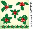 Christmas Holly, set of decorative elements - stock vector