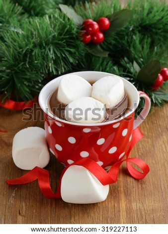 Christmas hot chocolate cocoa with marshmallows