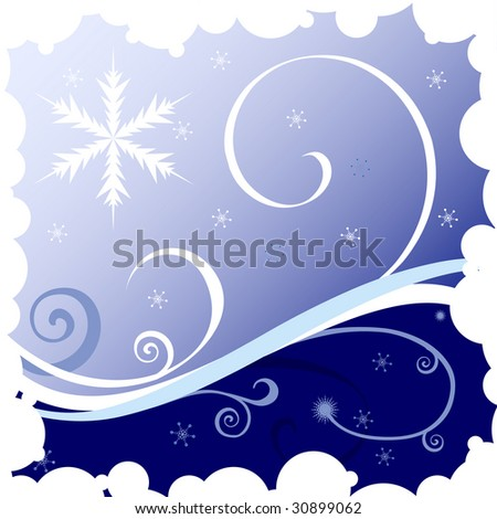 Christmas  illustration with snowflakes and waves on blue background. raster version